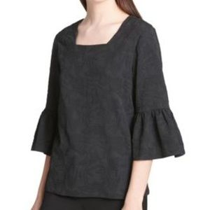 NWT Calvin Klein Size S Jacquard Bell Slv Blouse